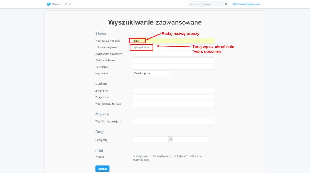 pisanie tekstów gościnnych_zaawansowane wyszukiwanie Twittera