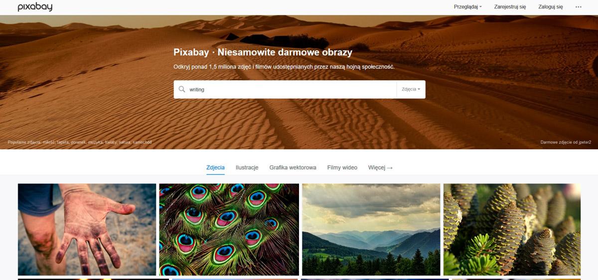 Screen strony głównej banku zdjęć pixabay.com