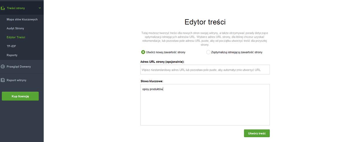 SEO Content Editor - wybór słowa kluczowego