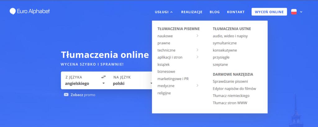 Euro Alphabet - lista dostępnych tłumaczeń tekstu