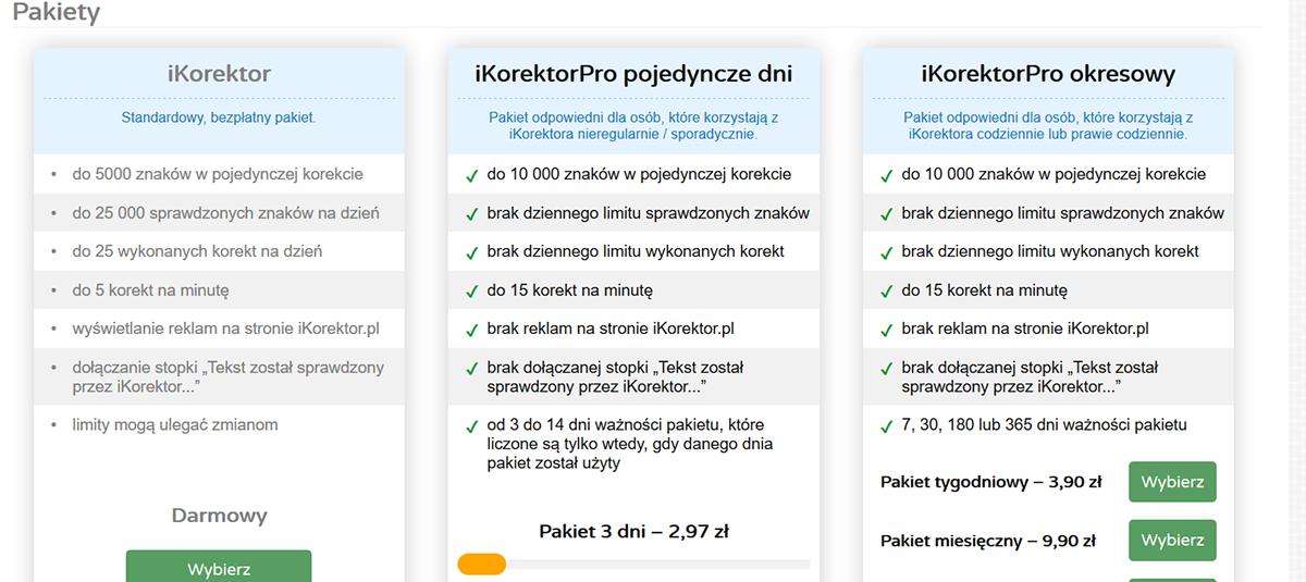iKorektor - wybór pakietu