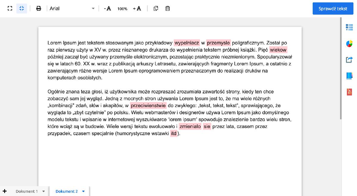 Korektortekstu.pl -  wygląd programu do sprawdzania tekstu zawierający miejsce na tekst