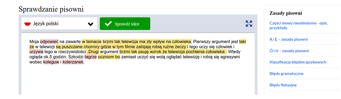Ortograf.pl - wygląd programu do sprawdzania tekstu zawierający miejsce na tekst