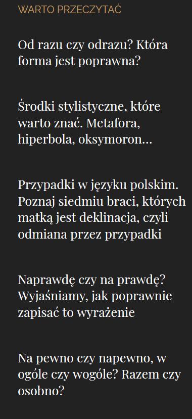 Polszczyzna.pl - tematy artykułów, które warto przeczytać