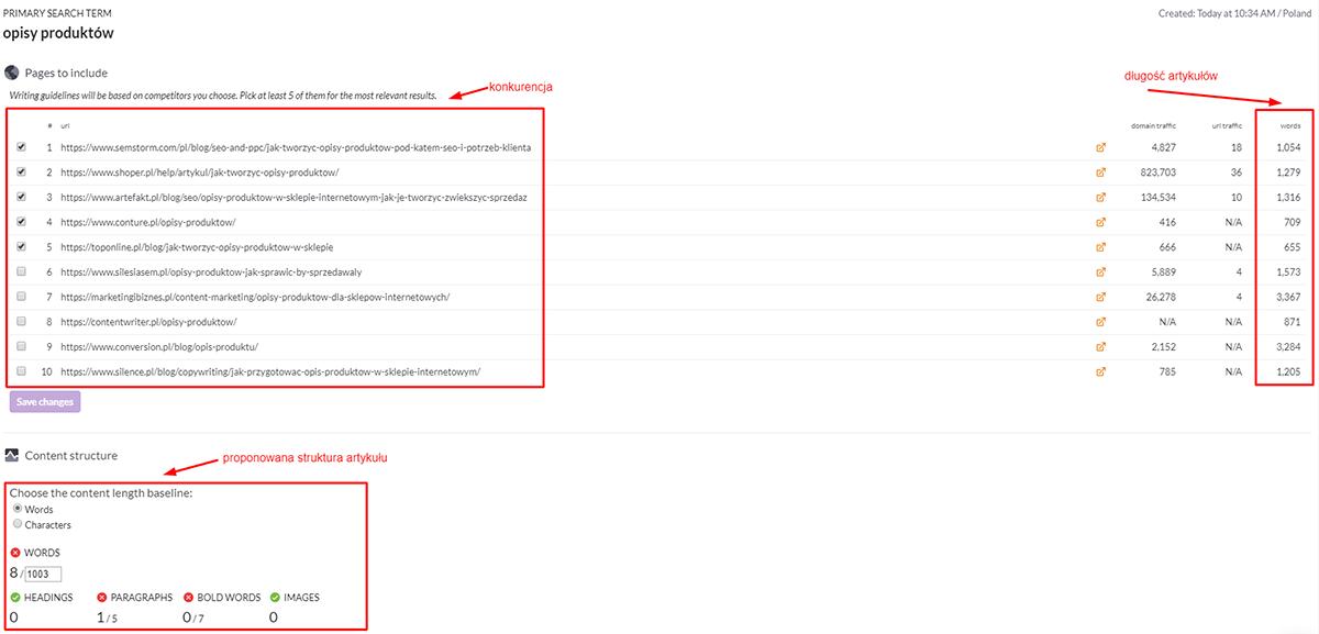 SurferSEO - wynik wyszukiwania zawierający informacje o konkurencji i sugestie co do Twojego artykułu