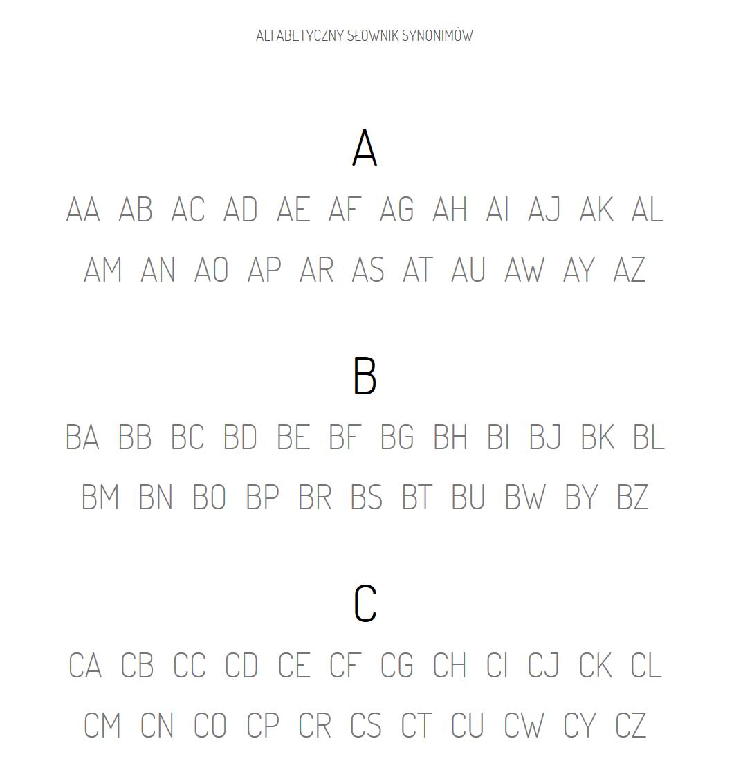 Synonimiczny.pl - alfabetyczny słownik synonimów