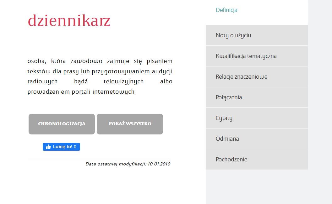 Wielki słownik języka polskiego - informacje na temat wyszukanego słowa