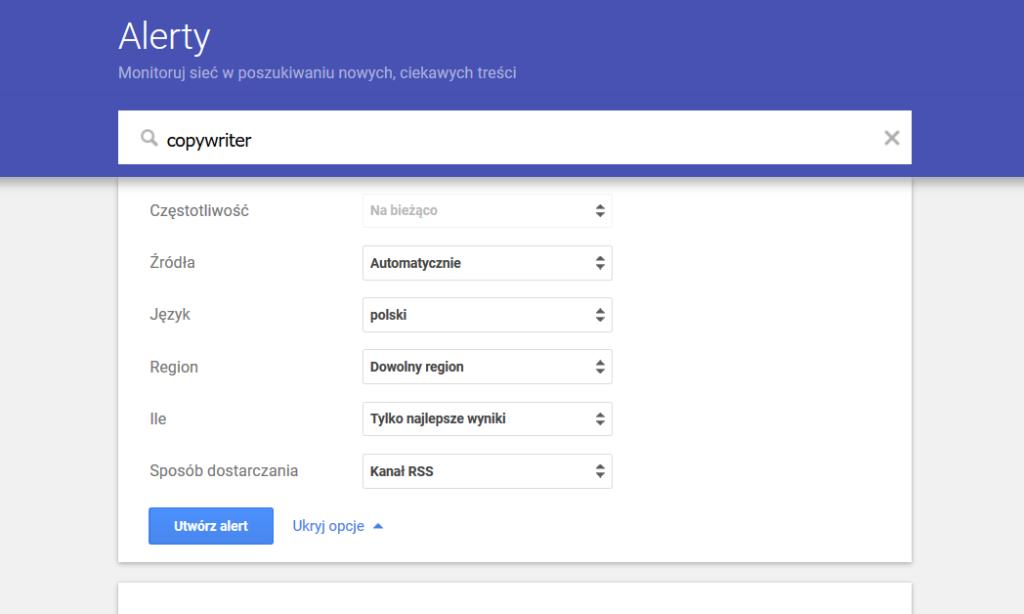 Alerty Google - interface narzędzia do raportowania danego słowa lub frazy