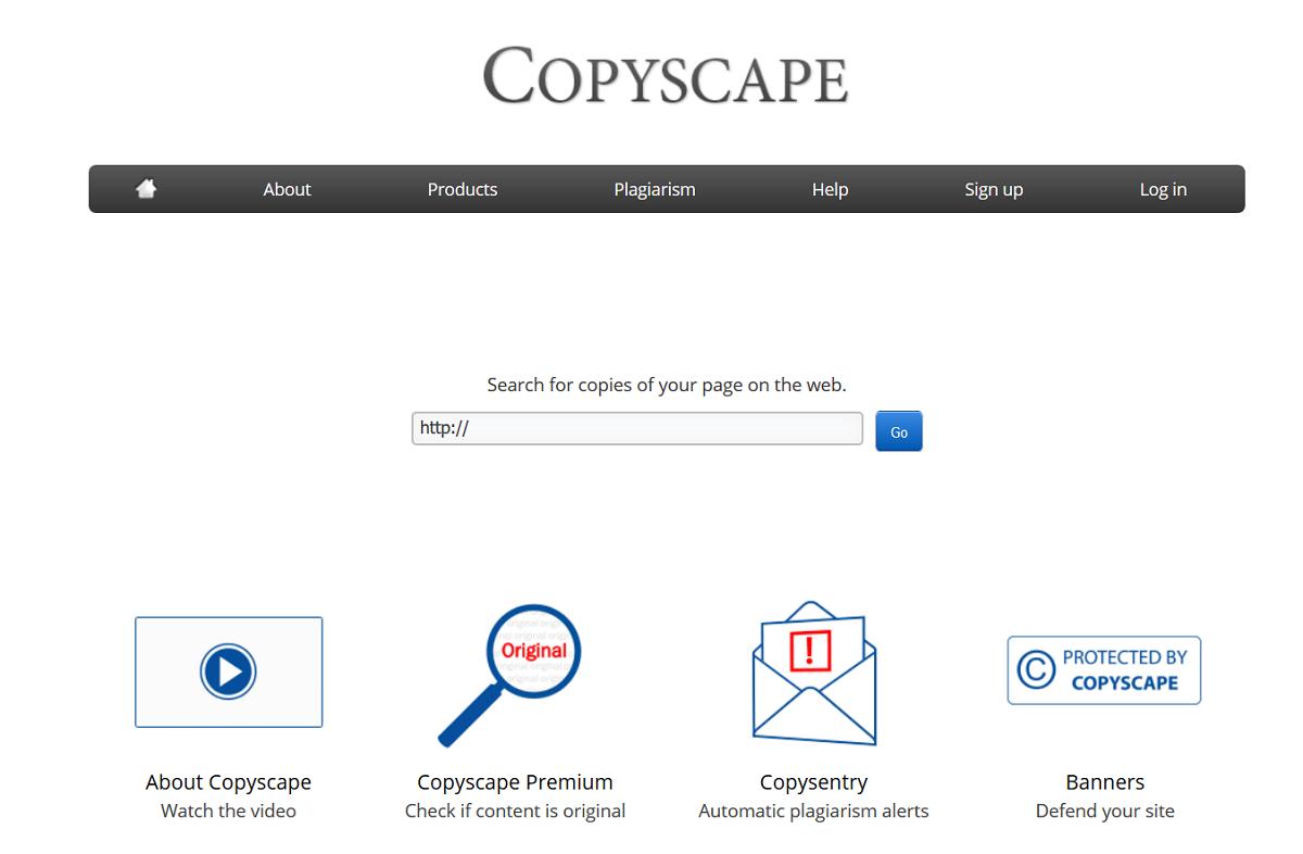 Copyscape - interface narzędzia
