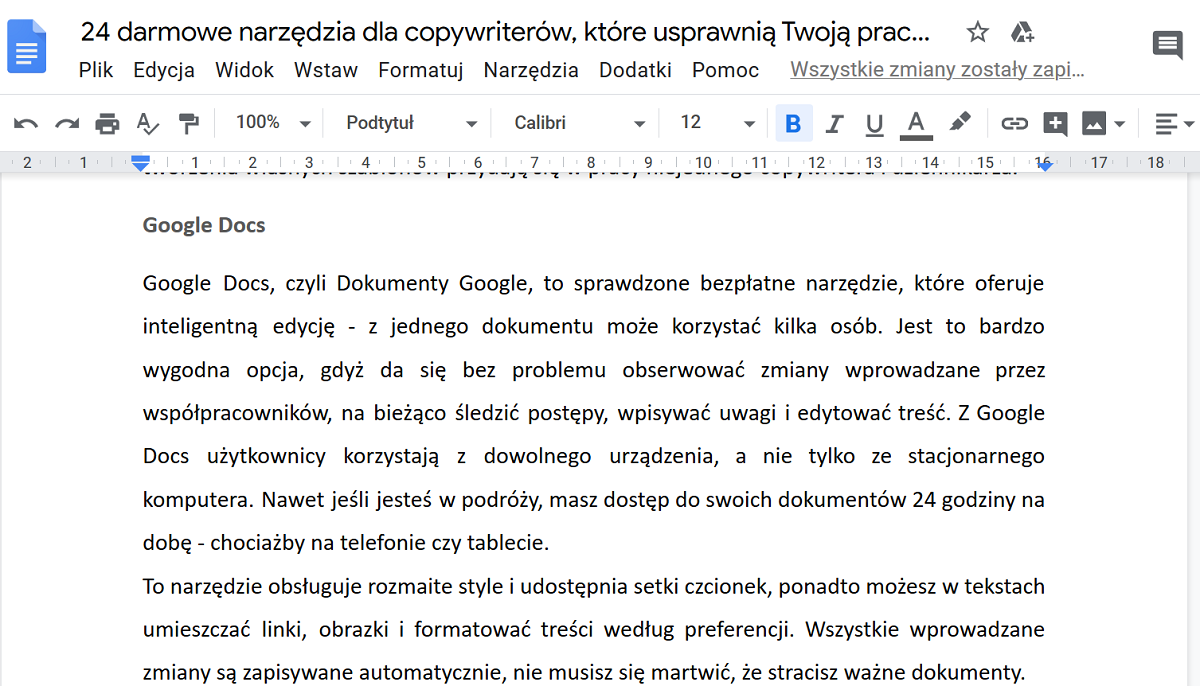 Interface narzędzia do edycji tekstu od Google