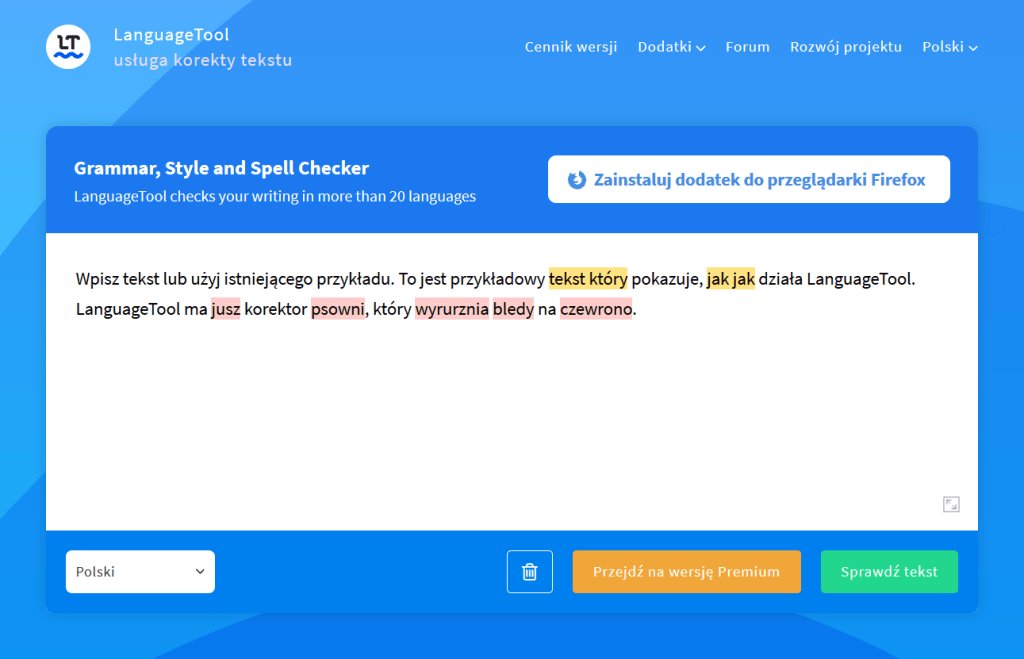 Language tool - interface programu wraz z przykładowym tekstem