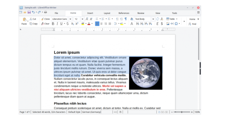 Interface programu Libre Office Writer