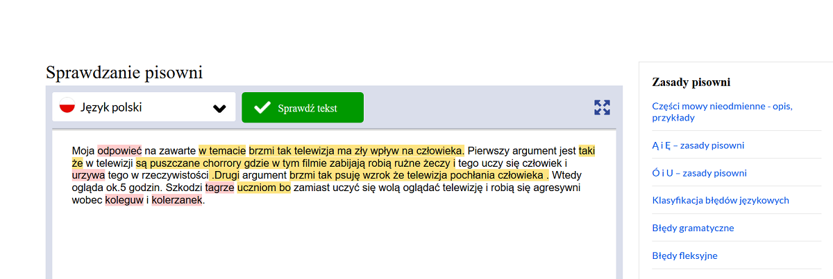Ortograf.pl - tekst z zaznaczonymi błędami