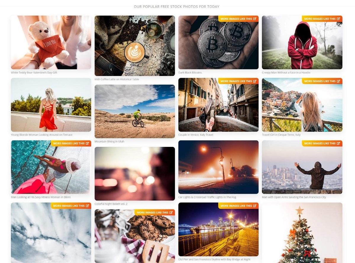 Picjumbo - lista popularnych obrazów danego dnia