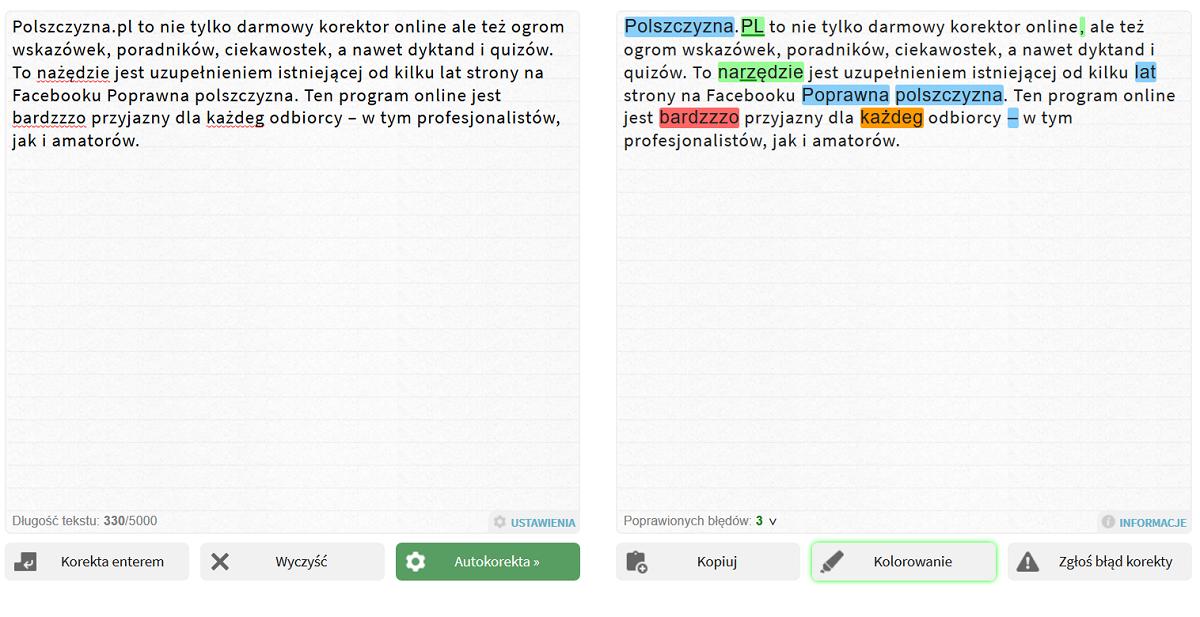 Polszczyzna.pl - interface programu z podziałem na oryginalny tekst oraz tekst z zaznaczonymi błędami