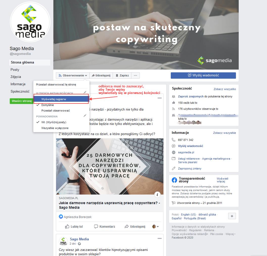 Facebook - umiejscowienie opcji wyświetlania postów