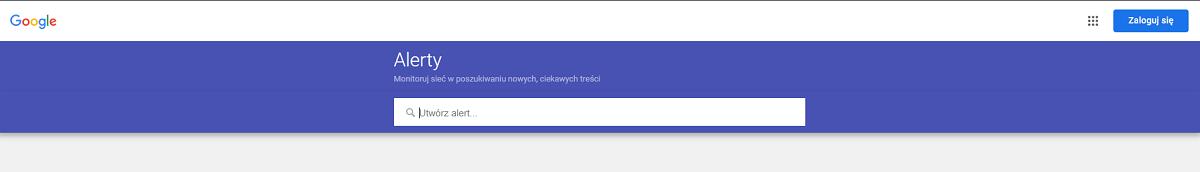 Google alerts - pole wyszukiwania