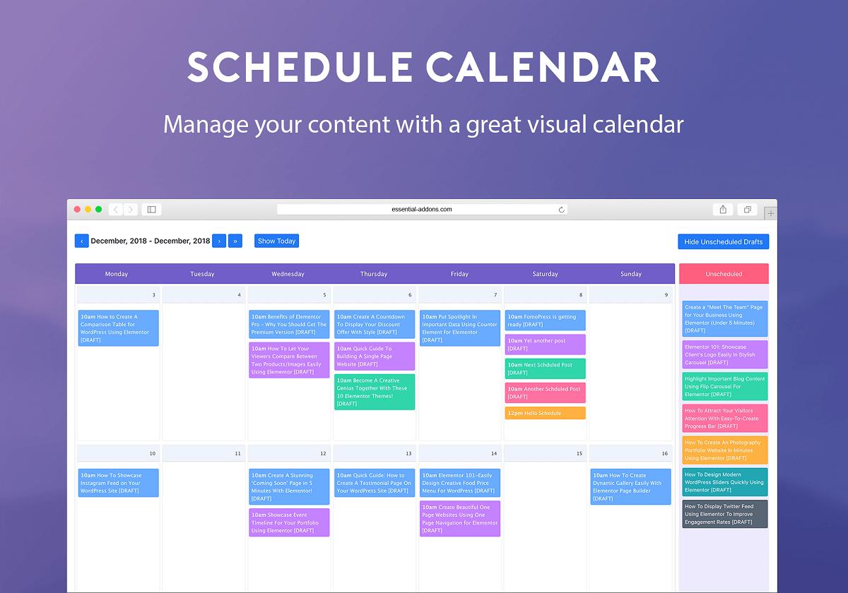 WP Scheduled Posts - widok kalendarza