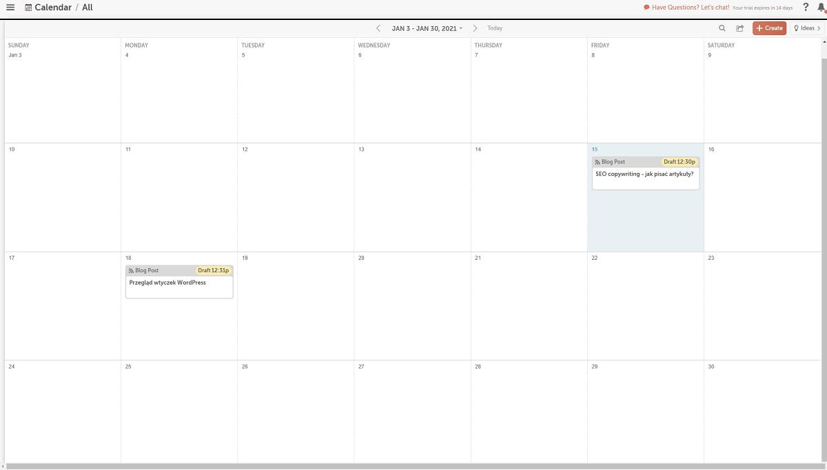 CoSchedule - wygląd kalendarza marketingowego