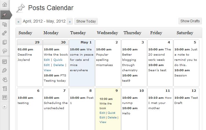Editorial Calendar - wygląd kalendarza wraz z dodanymi zadaniami