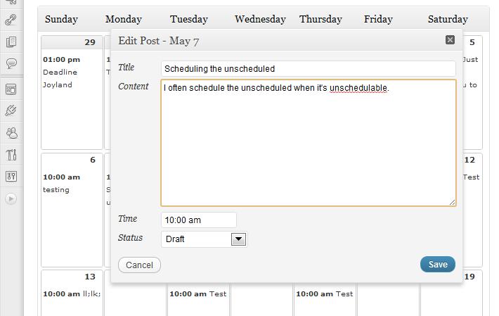 Editorial Calendar - edycja zadania
